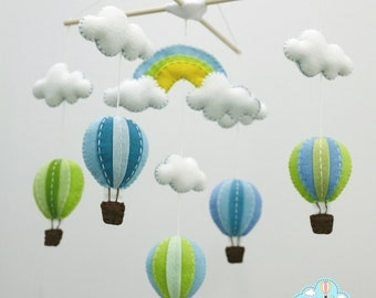 Blue and green rainbow hot air balloons hanging mobile - Balloons baby mobile- colorful balloons mobile - balloons and rainbow