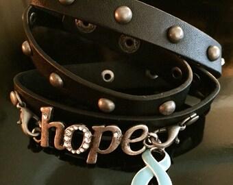 Leather Wrap Prostate Cancer Awareness / Survivor Bracelet - hope - Light Blue Ribbon Charm - Survivor Gift / Jewelry