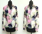 Vintage 80s SILKY blouse // Dana Buchman PINK jewel baroque print top // medium long sleeve wrapped colorful shirt