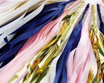 Navy Blossom Tassel Garland - Pink, Ivory, Navy, Gold Tassel Garland - Birthday Party Decoration // Wedding Decor // Baby Shower Supplies