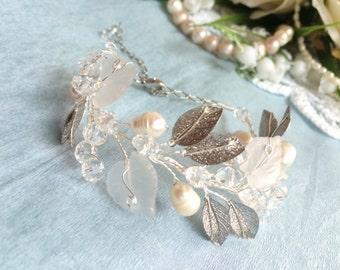 Bridal bracelet, pearl flower bracelet, wedding bracelet, bridal bracelet crystal, bridal jewelry bracelet, jewelry, silver bracelet wedding