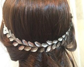 Silver wedding crown, wedding headpiece, bridal headpiece, bridal crown, wedding headpiece, floral bridal headpiece, bridal tiara crown