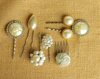 Rhinestone and White Hair Accessories, Hair Pins Combs, Upcycled Jewelry, Wedding Accessories, Bridesmaids