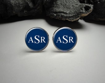 Personalized Navy Blue and White Monogram Cuff Links Personalized Silver Cuff links for Him Wedding Cuff links/ Personalized Navy Cuff links
