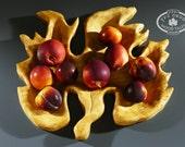 A Nature Inspierd handcarved  Wooden Grape Leaf Serving Dish