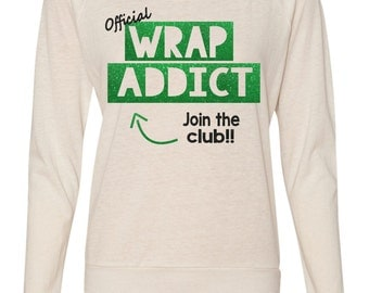 Official Wrap Addict Glitter Print Slouchy Pullover