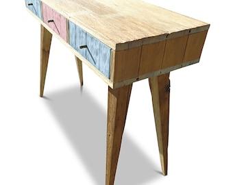 Flash Sale! Modern Mid Century Retro Danish Scandinavian Shabby Chic Eco Recycled Baby Blue & Blush Pink Console / Desk / Dressing Table