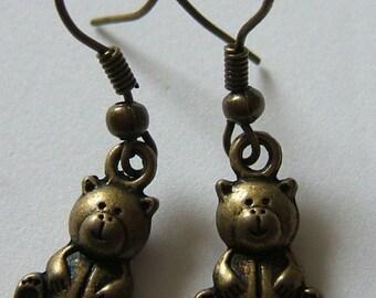 Bronzetone Teddy Bear Earrings