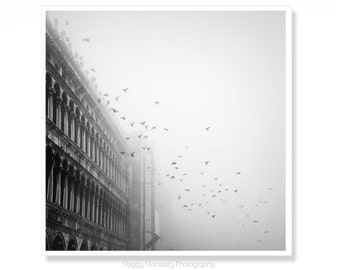Black and White Wall Art, Art for Living Room, Venice Italy, Venice Print, Italian Wall Art, Gift Idea For Him, Birdsong