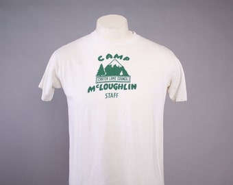 1960s BOY SCOUT T-Shirt  / 1960s Camp McLoughlin Oregon BSA Tee Tshirt M Soft Thin