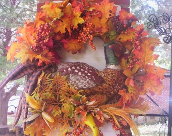 Fall Bird wreath/Pheasant wreath/Autumn wreath/Fall door wreath/Thanksgiving wreath/Bird wreath/Country fall wreath/Bountiful wreath/Wreath