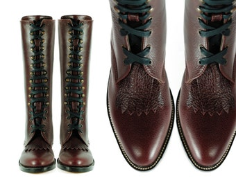 KEROUAC Lineman Burgundy Pebbled Leather ADDED Heel FRINGED Goodyear Welted Boots (All Sizes)
