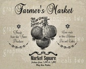 Farmers Market art Onions Instant graphic digital download Image transfer for iron on burlap decoupage pillow card Scrapbooking No gt123