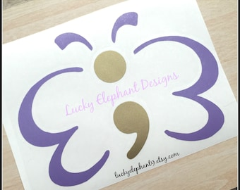 Semicolon Butterfly Decal - Semicolon Decal - Semicolon Butterfly Car Decal - Semicolon Vinyl Decal - Semicolon Butterfly