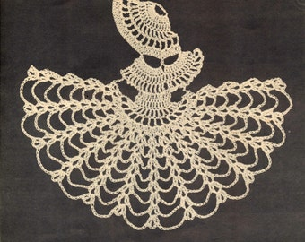 2 Vintage crochet patterns- crinoline lady corner motif, beaded jug cover