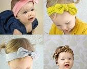 PICK COLOR  Knot head wrap headband, fabric bow headwrap, turban, gray, pink, white, black
