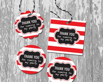 Printable Thank You Favor Tags Stickers Labels INSTANT DOWNLOAD Red White Black Olivia Inspired