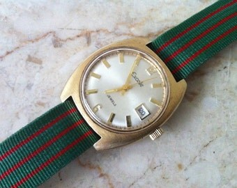 Vintage Men's Watch, Elgin Excelle Watch, 17 Jewel, Date Window, Sweep Second Hand,  Circa Mid 1970s, Lion Head Band, Delovelyness on Etsy