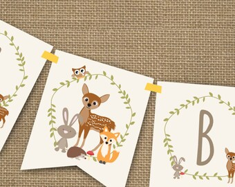 Woodland Baby Shower Banner for a Boy or Girl - Instantly Downloadable and Editable File - Personalize at home with Adobe Reader