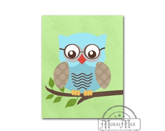 Baby Boy Owl Nursery - Owl Print - wall art - Boys Woodland Owl Nursery Art , Owl Decor