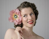 "Large Hair Flower, Pink Floral Fascinator Hair Clip Accessory, Mauve, Dusty Pink Headpiece, 1950s Vintage - ""Pick Me Up in Paradise"""