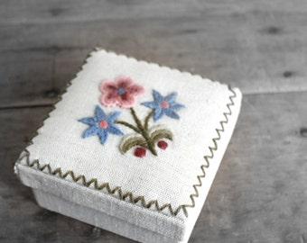 fiber embroidered box - floral storage box