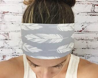 Yoga Headband - Feathers - Silver Gray - Eco Friendly