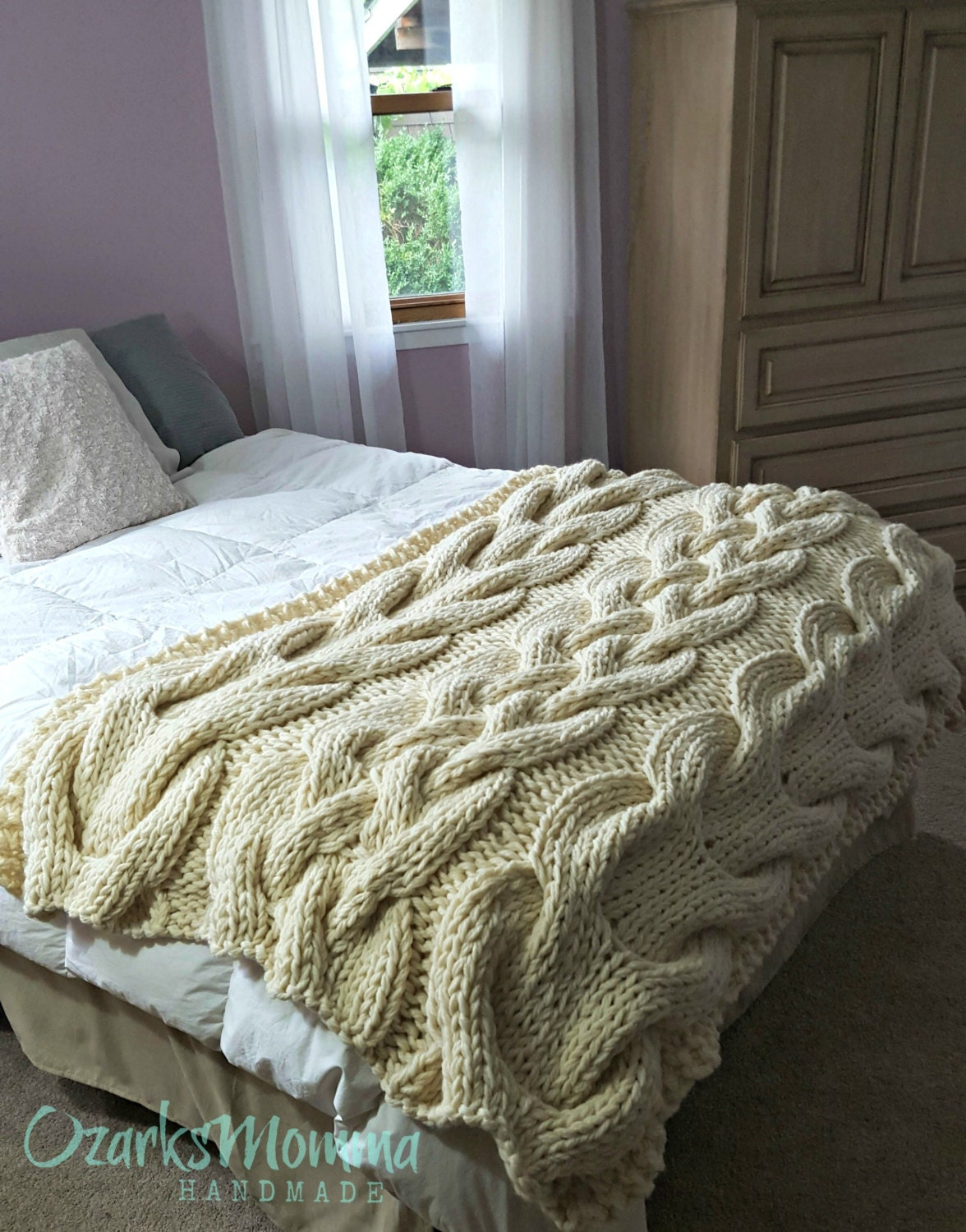 Chunky Oversized Cable Knit Blanket Made To Order