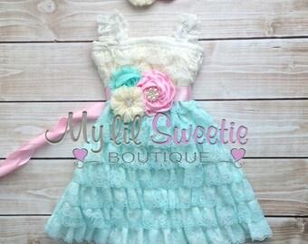Ivory, light pink, light mint aqua 3 piece set, dress, sash, headband, baby girl outfit, special occasion dress, toddler dress, girls dress,