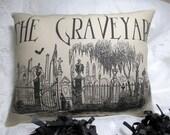 GRAVEYARD Halloween Pillow, Cemetary, Spooky, Shabby tea Pillow, HALLOWEEN!!!
