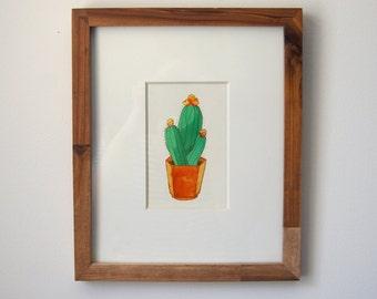 Gouache Cactus Painting, Flowering Cactus Print, Illustration, Wall Print