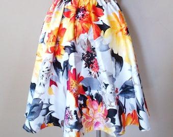 MADE TO ORDER Gathered Circle Midi Skirt/ Orange White Black /Floral Print/ Cotton/ Garden Party/ Retro inspired/ Rockabilly skirt