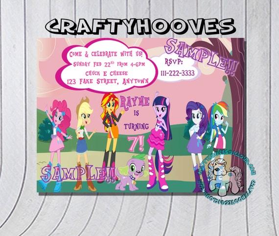 My Little Pony Equestria Girls Invitations U-Print Custom Party Celebration MLP Rainbow Pinky Equestrian