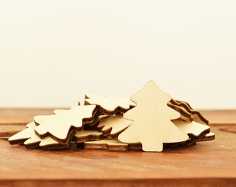 10 Wooden Christmas Trees, Timber XMas Trees 30mm, Christmas DieCuts, Christmas Hang Tags, Christmas Supplies, Gift Wrap