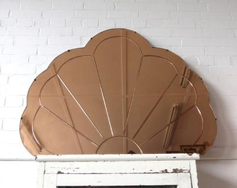 Vintage Extra Large Art Deco Bevelled Edge Wall Mirror Peach Colored Overmantle