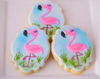 12 Vegan Flamingo Sugar Cookies