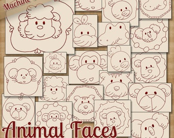 Animal Faces Redwork Machine Embroidery Patterns / Designs 4x4 and 5x7 Hoop INSTANT DOWNLOAD Decorative Outline Style Quilting