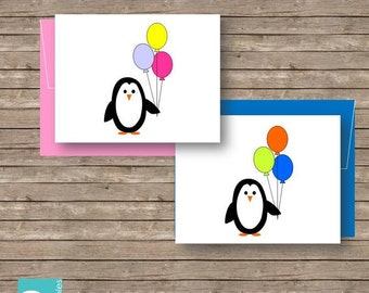Penguin Birthday Cards Printable DIY 2 cards