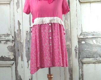 Pink Bustle Dress Upcycled Clothing Wearable Art Dress Eco Fashion, Upcycled Dress