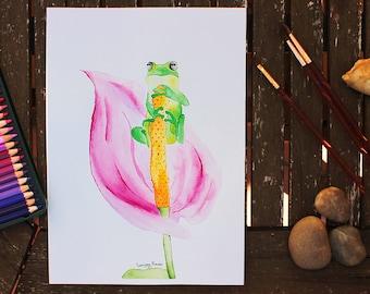 Watercolor Frog, Frog Painting, Original Watercolor, Frog Art, Frog Illustration, Watercolor Animal, Nature, Nursery Art, Animal Painting