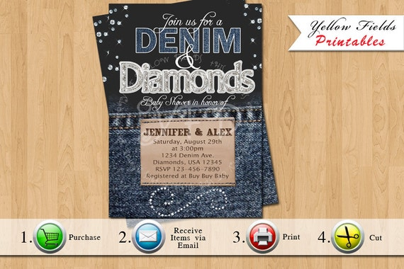 denim and diamonds baby shower invitation you print