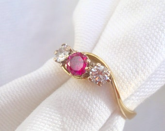 18K Diamond & Ruby Ring - Engagement, Anniversary, Wedding or Right Hand Trilogy Ring .55 carats TCW - Size 6 3/4 - Easy to re-size