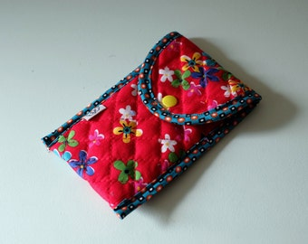Phonecase - pouch - pencil case - quilted printed red flowers color-multicolored - panda flying