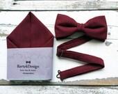 Set Bow Tie & Pocket Handkerchief by BartekDesign: burgundy vine color linen wedding grooms
