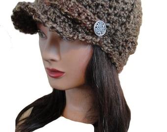 Women's Crochet Multi Color Dark Brown Newsboy Bill Brim Ribbed Beanie Hat