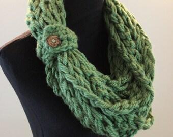 Grass Green Crochet Bulky Fall Autumn Warm Acrylic Infinity Scarf