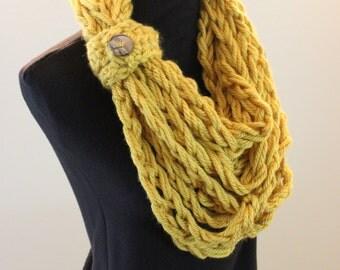 Gold Yellow Crochet Bulky Fall Autumn Warm Acrylic Infinity Scarf