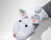Animal Hand Puppet Bunny Rabbit Hand Puppet Hand Knit White for Adult or Child Knit Rabbit