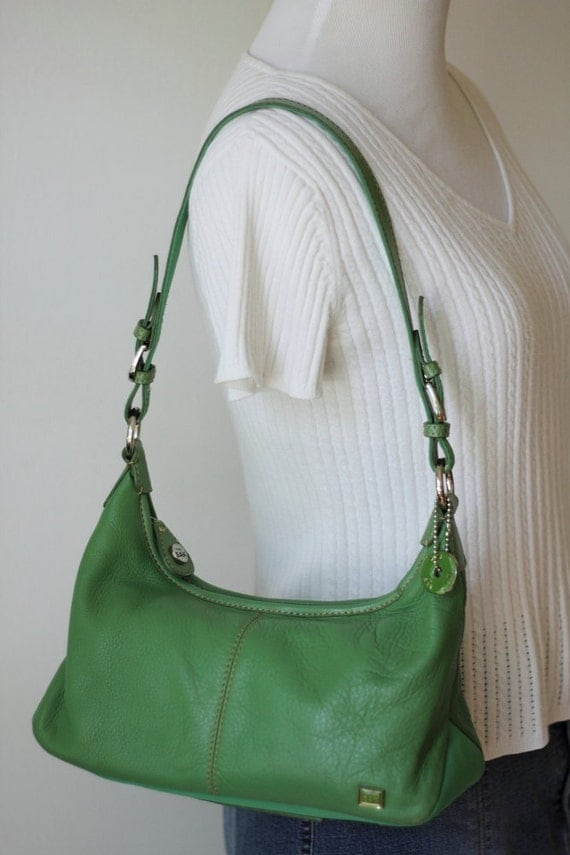 Vintage THE SAK Lime Green Leather Hobo Handbag/ The Sak Green