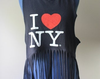 I Heart NY Fringe Crop Top